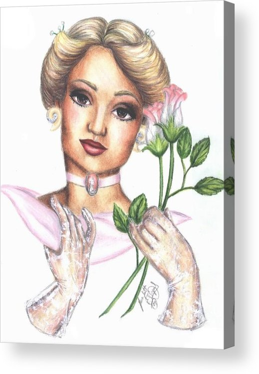 Portrait Acrylic Print featuring the drawing Summer Rose by Scarlett Royal