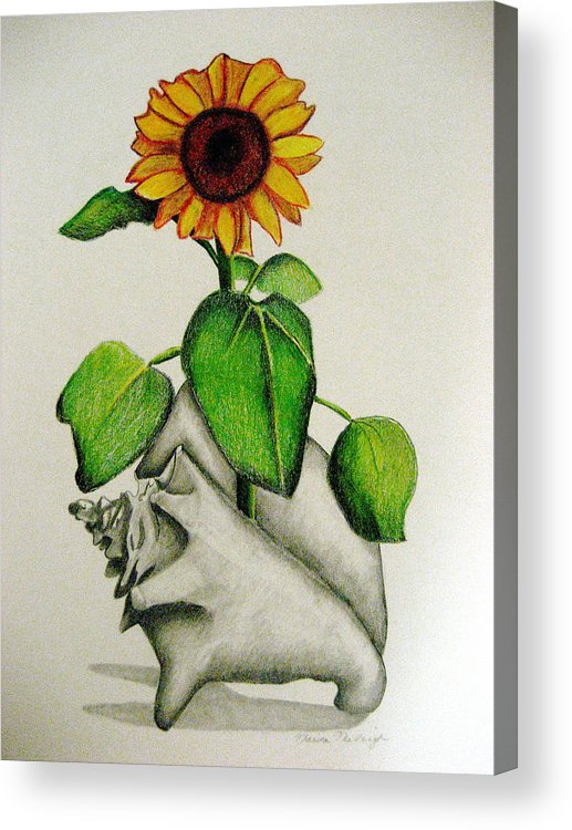 Sunflower Acrylic Print featuring the mixed media Summertime by Marita McVeigh