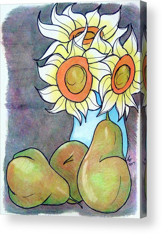 Sunflowers Acrylic Print featuring the drawing Sunflowers And Pears by Loretta Nash