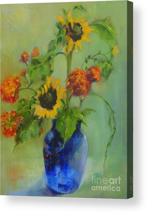 Contemporary Floral Acrylic Print featuring the painting Sunflowers In Blue     Copyrighted by Kathleen Hoekstra
