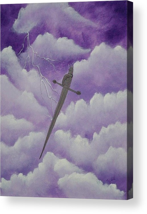 Silver Sword Acrylic Print featuring the painting Sword Of The Spirit by Laurie Kidd