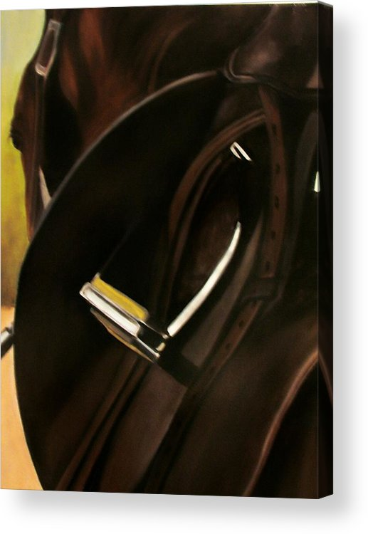 Horse Acrylic Print featuring the painting Tacking Up by Donna Thomas