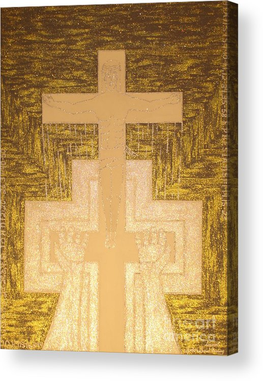 Tke It To The Cross Acrylic Print featuring the painting Take It To The Cross Silver Gold by Daniel Henning