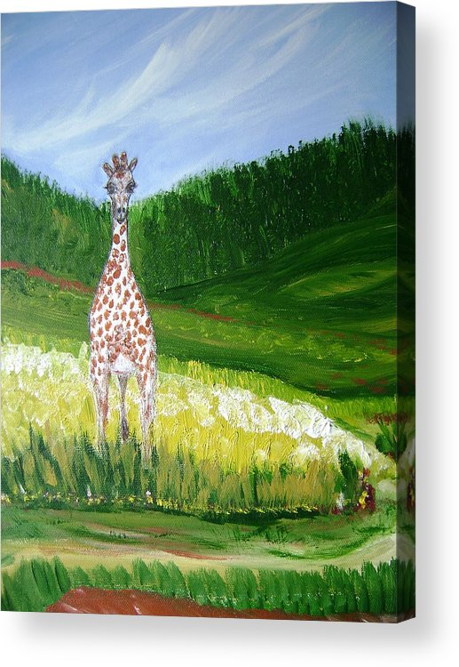 Giraffe Acrylic Print featuring the painting Taking In The View by Laura Johnson