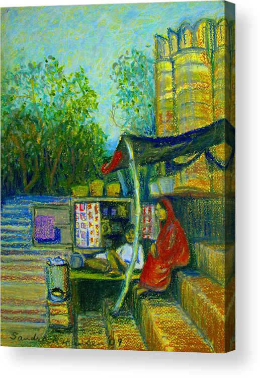Assi Ghat Acrylic Print featuring the pastel Tea Stall At Assi Ghat In Varanasi by Art Nomad Sandra Hansen