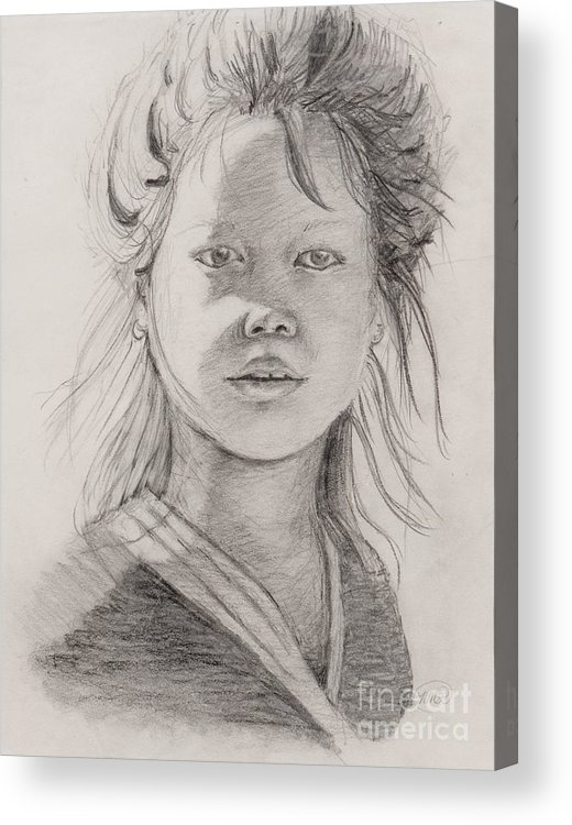 Portrait Acrylic Print featuring the drawing Thai Beauty by Nadine Rippelmeyer