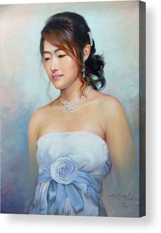 Thai Acrylic Print featuring the painting Thai Woman by Chonkhet Phanwichien