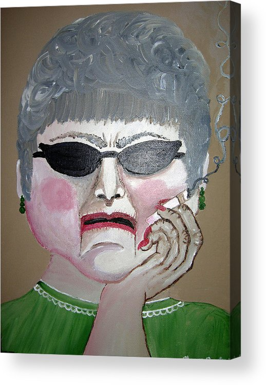 Old Woman Acrylic Print featuring the painting That Woman by Sharon Supplee