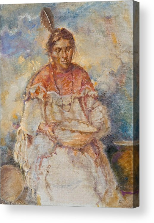 Native Americans Acrylic Print featuring the painting The Basket Maker by Ellen Dreibelbis