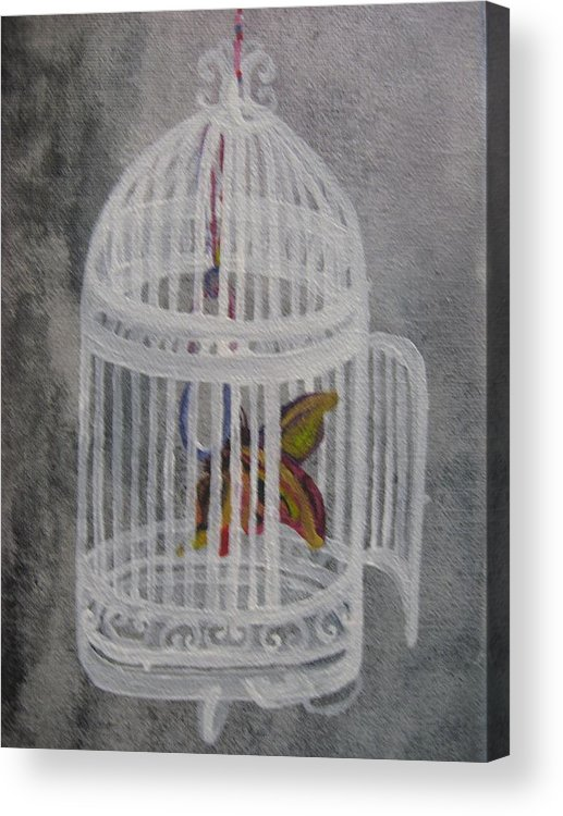 Butterfly Acrylic Print featuring the painting The Bird Cage by Theodora Dimitrijevic