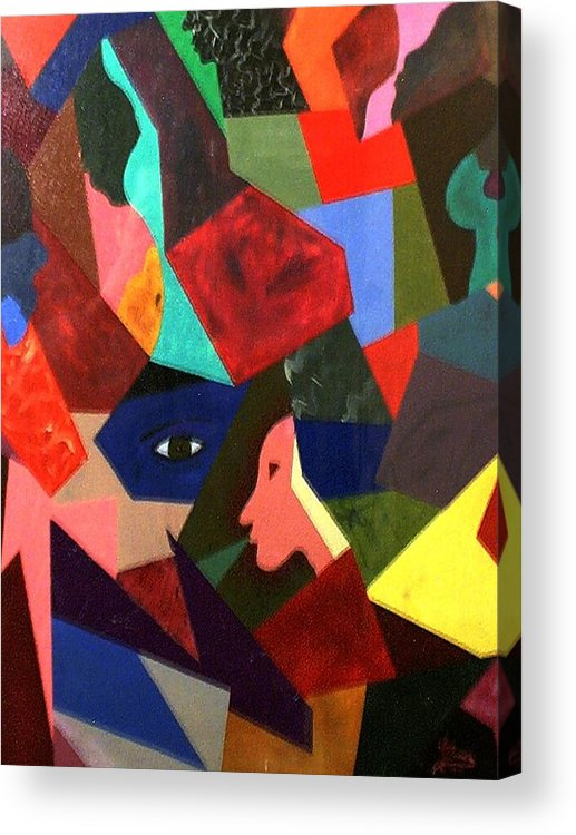 Geometric Art Acrylic Print featuring the painting The Birth by Guillermo Mason