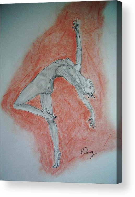 Body Shape Acrylic Print featuring the drawing The Dancer by Murielle Hebert