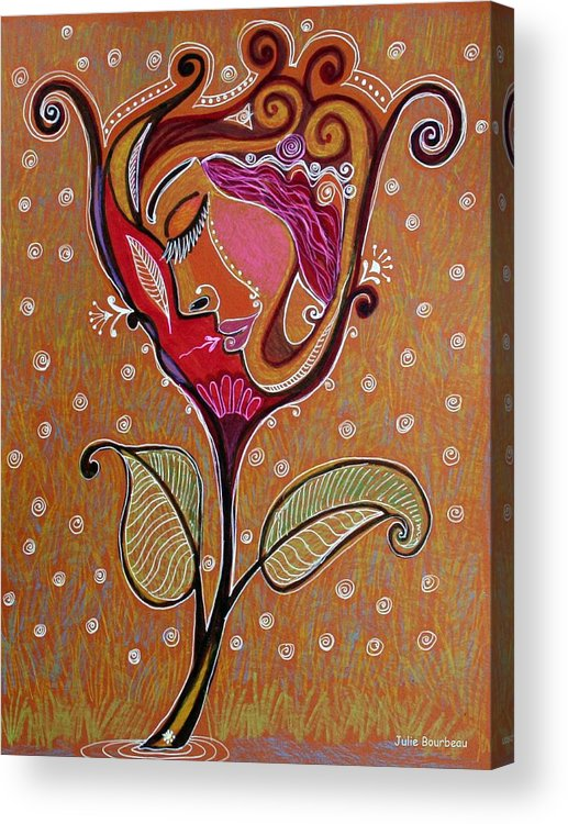 Fowers Acrylic Print featuring the painting The Feeling Is Right by Julie Bourbeau