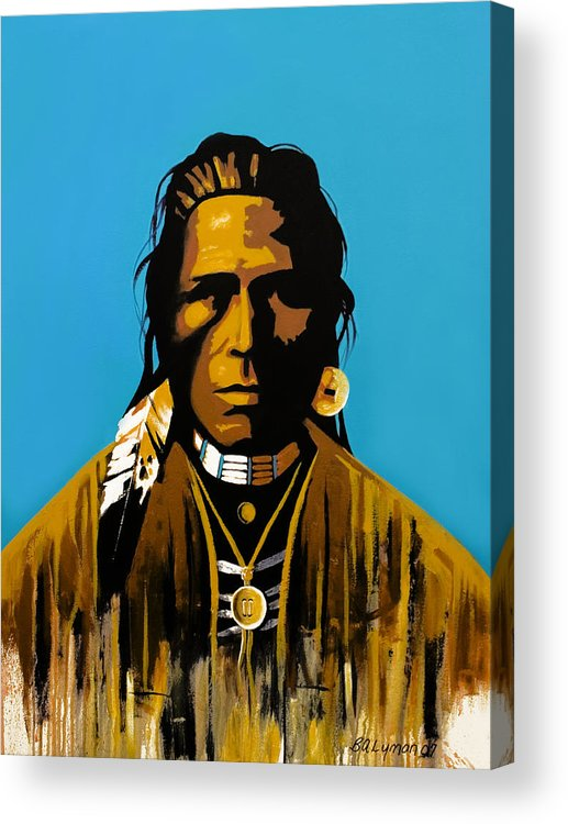 American Indian Portraiture Acrylic Print featuring the painting The First American by Brooke Lyman