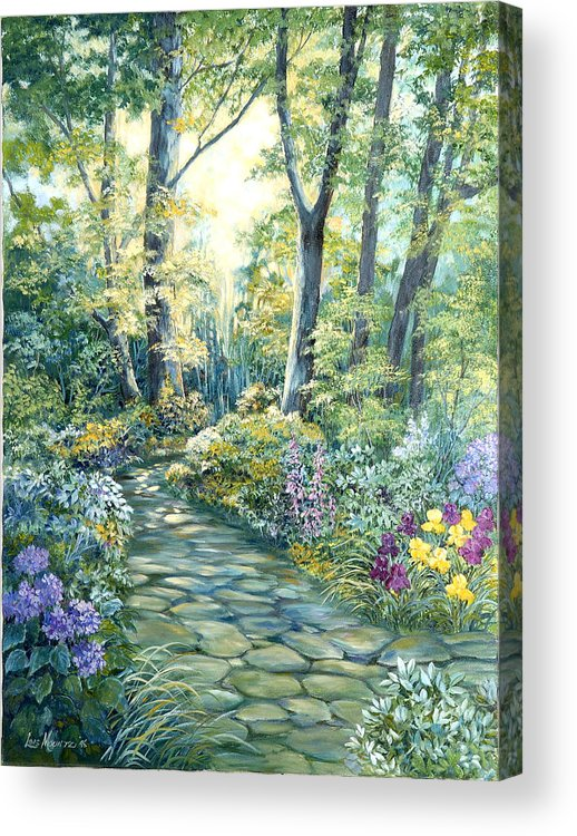 Acrylic Print featuring the painting The Garden Left Side Of Triptych by Lois Mountz