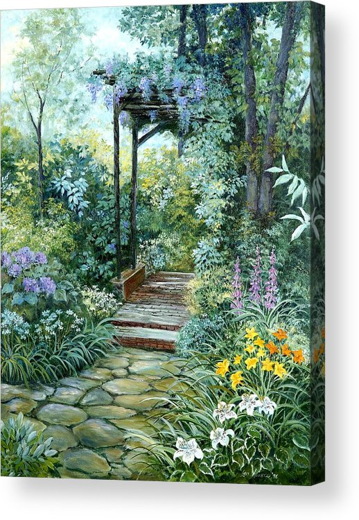 Oil Painting;wisteria;garden Path;lilies;garden;flowers;trellis;trees;stones;pergola;vines; Acrylic Print featuring the painting The Garden Triptych Right Side by Lois Mountz