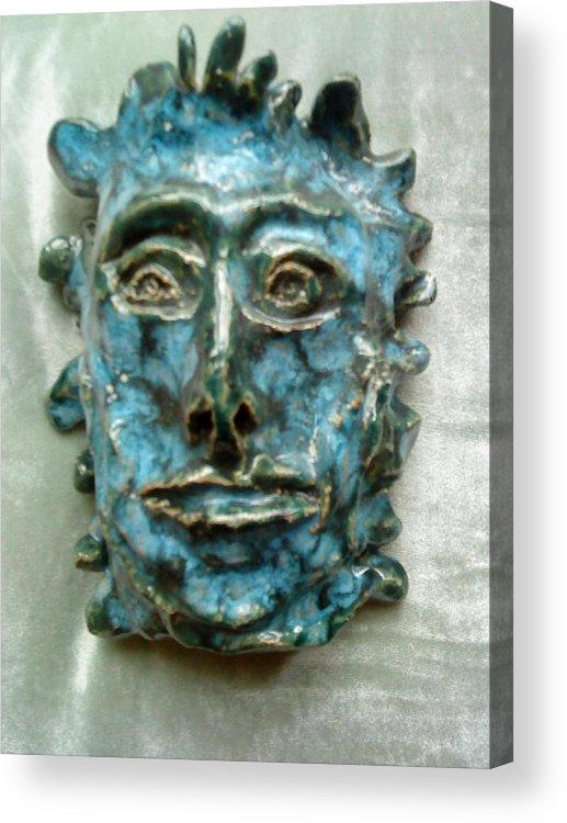 Green Man Acrylic Print featuring the ceramic art The Green Man by Paula Maybery