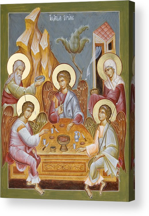 Holy Trinity Icon Acrylic Print featuring the painting The Holy Trinity by Julia Bridget Hayes