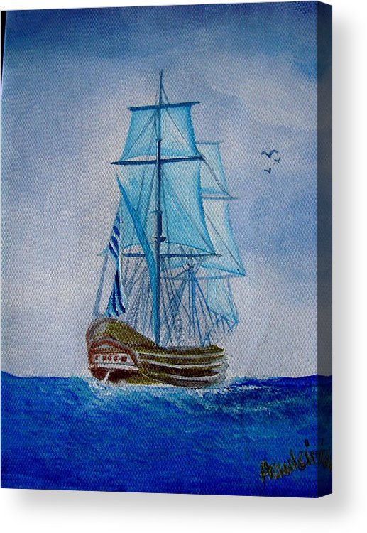 Ship Acrylic Print featuring the painting The Loner by Glory Fraulein Wolfe