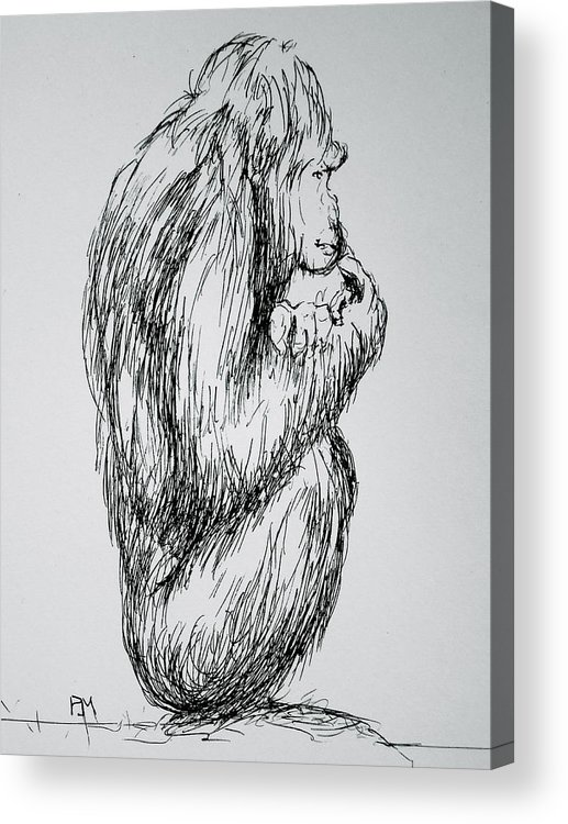 Monkey Acrylic Print featuring the drawing The Meaning Of Life by Pete Maier