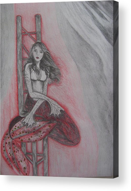 Mermaid Acrylic Print featuring the drawing The Mermaid by Theodora Dimitrijevic