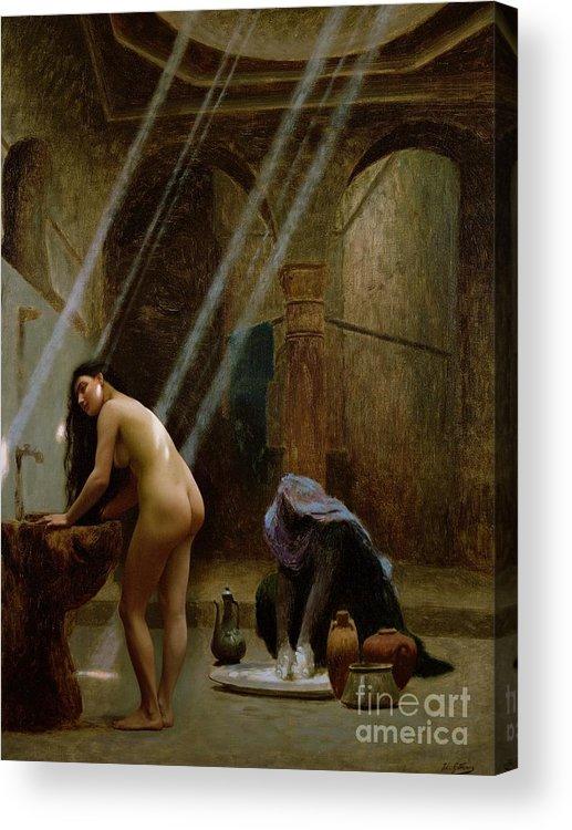 The Moorish Bath By Jean Leon Gerome (1824-1904) Acrylic Print featuring the painting The Moorish Bath by Jean Leon Gerome