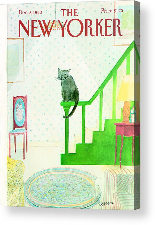 Cat Acrylic Print featuring the photograph The New Yorker Cover - December 8th, 1980 by Conde Nast