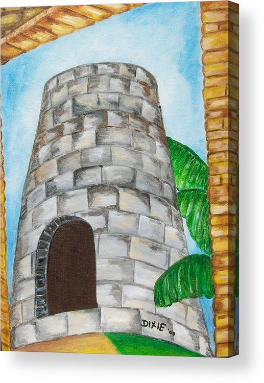 Caribbean Sugar Mill Acrylic Print featuring the painting The Sugar Mill by Dixie Lee Hedrington