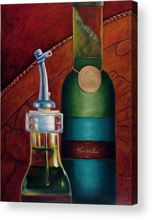 Olive Oil Acrylic Print featuring the painting Three Million Net by Shannon Grissom