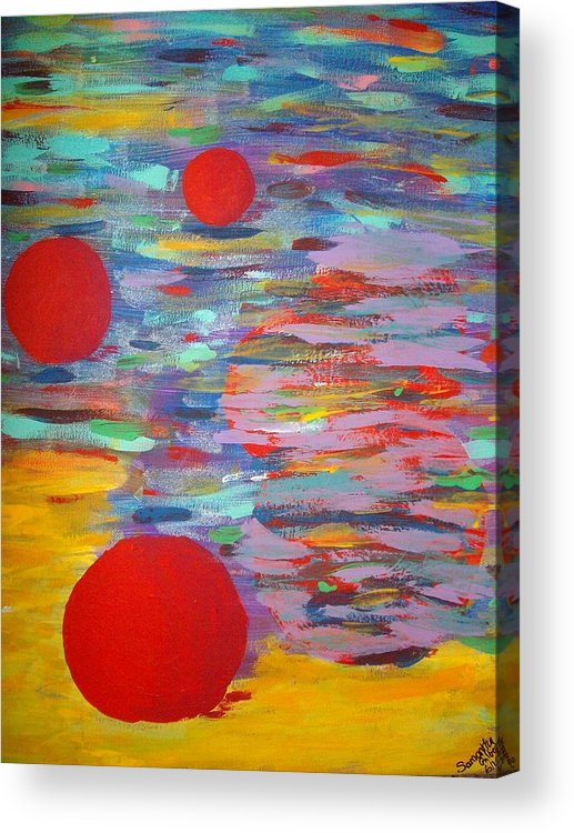 Abstract Acrylic Print featuring the painting Three Red Moons by Samantha Gilbert