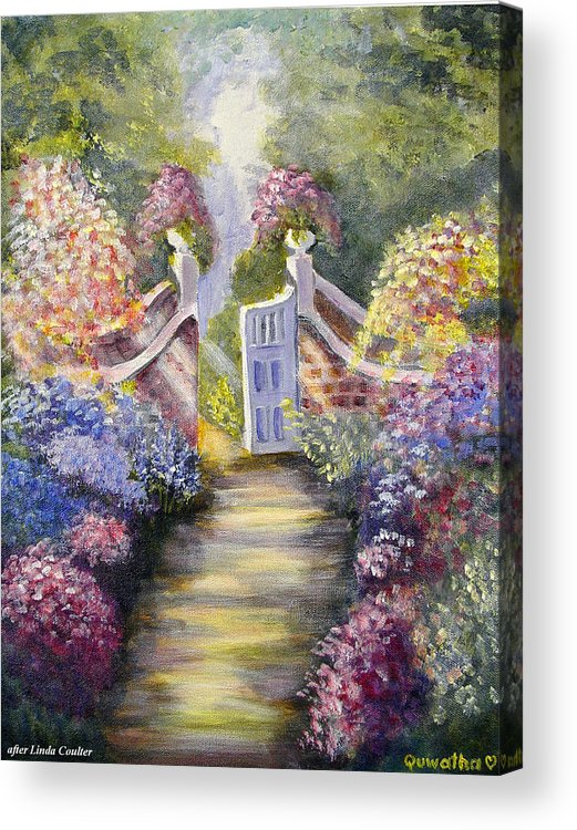 Flowers Acrylic Print featuring the painting Through The Garden Gate by Quwatha Valentine