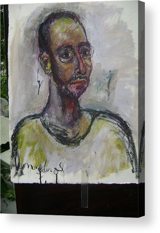 Self Portrait Acrylic Print featuring the painting Time And Again by Noredin Morgan