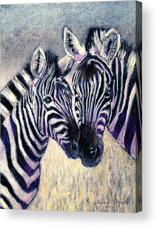 Zebras Acrylic Print featuring the pastel Together by Arline Wagner