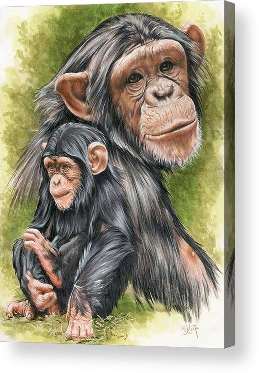 Chimpanzee Acrylic Print featuring the mixed media Treasure by Barbara Keith