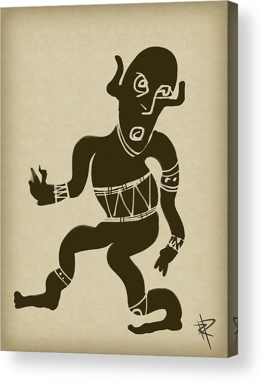 High Contrast Acrylic Print featuring the digital art Tribal Dancer by Russell Pierce