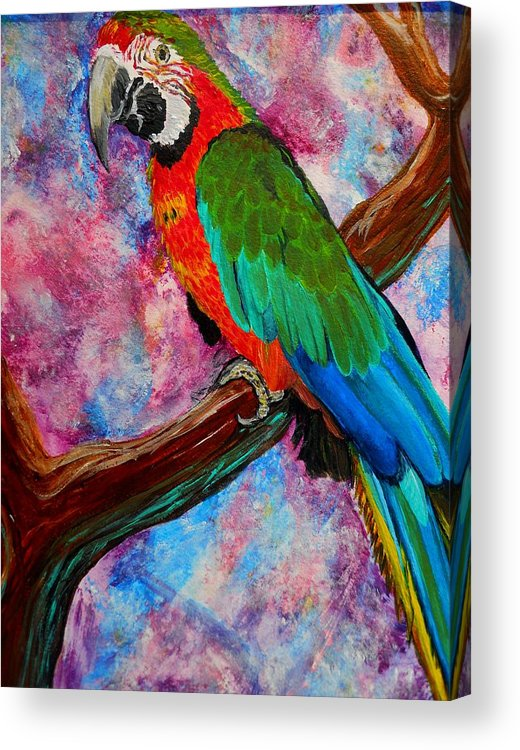 Birds Acrylic Print featuring the painting Tropical Parrot by Liz Borkhuis
