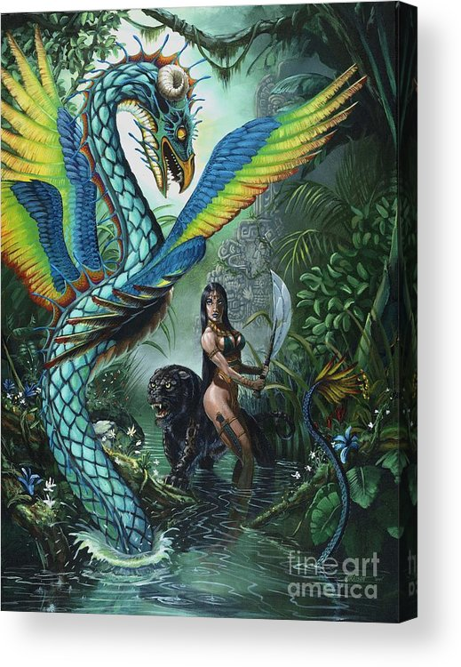 Dragon Acrylic Print featuring the painting Tropical Temptress by Stanley Morrison