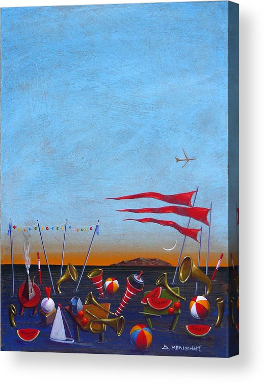Piano Acrylic Print featuring the painting Trumpets Of The Mediterranean by Dimitris Milionis