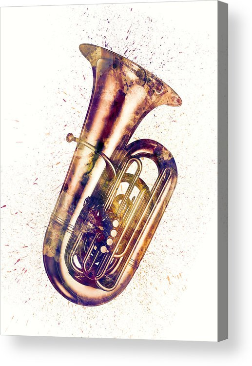Tuba Acrylic Print featuring the digital art Tuba Abstract Watercolor by Michael Tompsett
