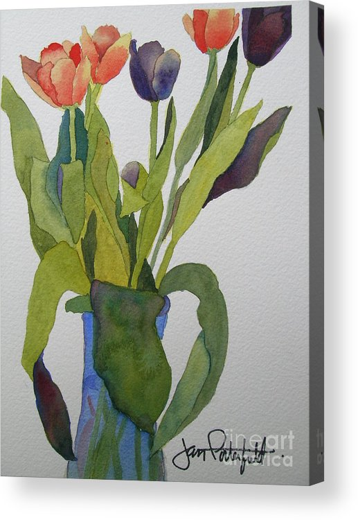 Tulip Acrylic Print featuring the painting Tulips In Blue Vase by Jeff Friedman