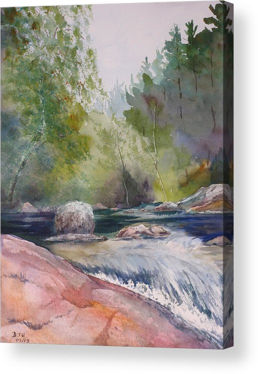 Water Acrylic Print featuring the painting Tumbling Waters by Debbie Homewood