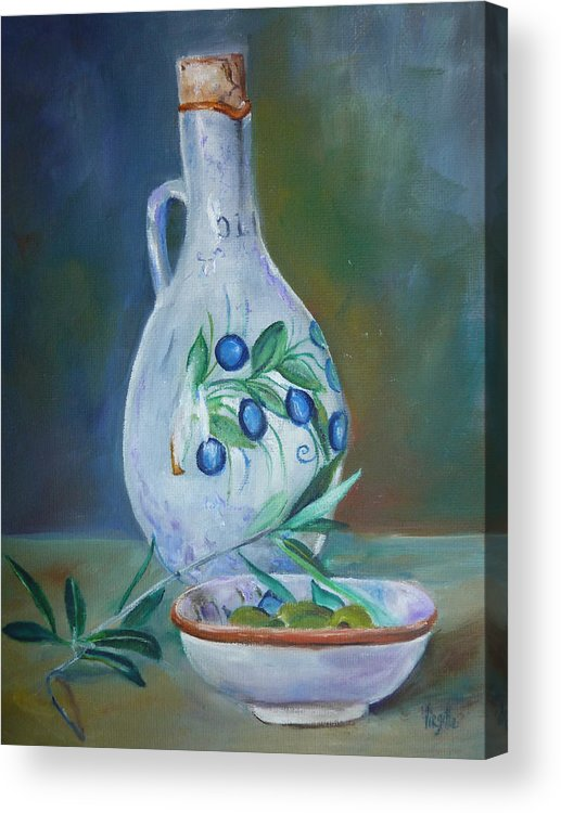 Vibrant Still Life Paintings Acrylic Print featuring the painting Tuscan Elements - Olive Oil With Olives by Virgilla Lammons