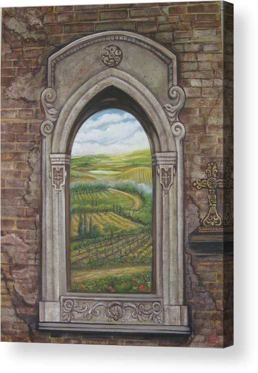 Window Acrylic Print featuring the painting Tuscan View by Diann Baggett