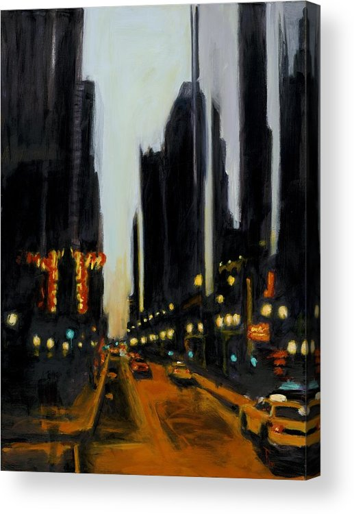 Rob Reeves Acrylic Print featuring the painting Twilight In Chicago by Robert Reeves
