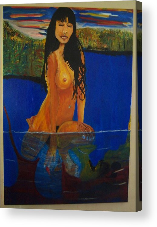 Nude Acrylic Print featuring the painting Underwater Woman by Dominic Angarano