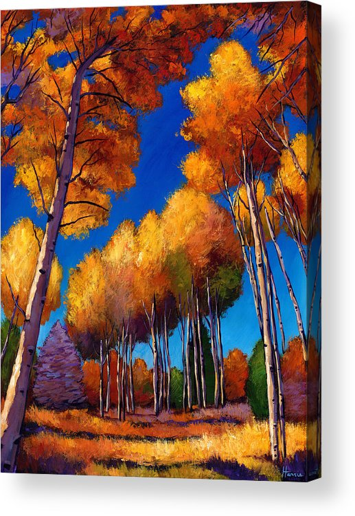 Autumn Aspen Acrylic Print featuring the painting Up And Away by Johnathan Harris