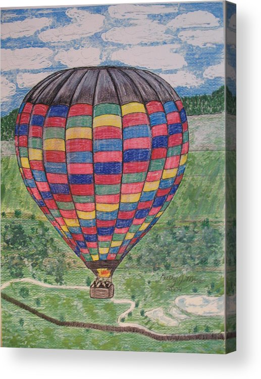 Balloon Ride Acrylic Print featuring the painting Up Up And Away by Kathy Marrs Chandler