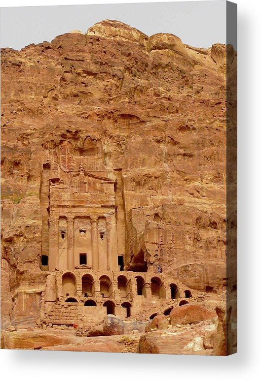 Vertical Acrylic Print featuring the photograph Urn Tomb, Petra by Cute Kitten Images