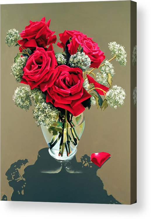 Flower Acrylic Print featuring the painting Valentine Roses by Ora Sorensen