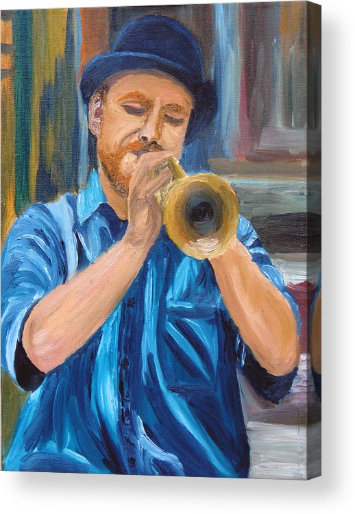Musician Acrylic Print featuring the painting Van Gogh Plays The Trumpet by Michael Lee